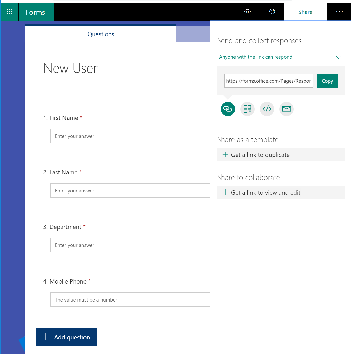 Office365 User Onboarding – MS Forms, Flow, SharePoint